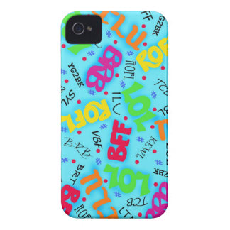 Turquoise Blue Text Art Symbols Colorful Case-Mate iPhone 4 Cases