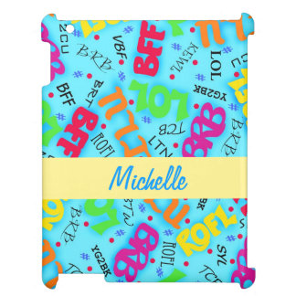 Turquoise Blue Text Art Symbols Colorful Cover For The iPad 2 3 4