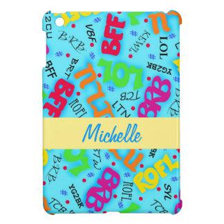 Turquoise Blue Text Art Symbols Colorful iPad Mini Covers
