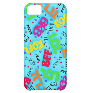 Turquoise Blue Text Art Symbols Colorful iPhone 5C Cover
