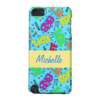 Turquoise Blue Text Art Symbols Colorful iPod Touch (5th Generation) Cases