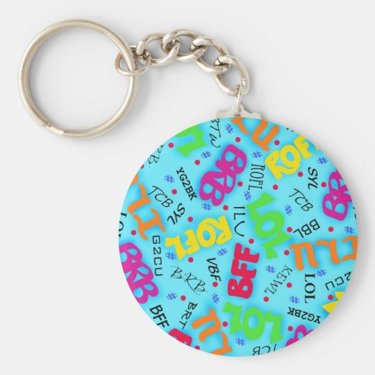 Turquoise Blue Text Art Symbols Colorful Keychain