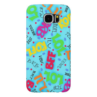 Turquoise Blue Text Art Symbols Colorful Samsung Galaxy S6 Cases