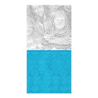 Turquoise Blue Textured Wedding Damask DIY V15 Card