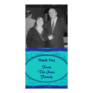 Turquoise blue Thank You Photo Card