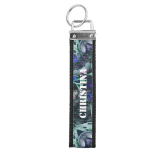Turquoise Blue Trippy Abstract Wrist Keychain