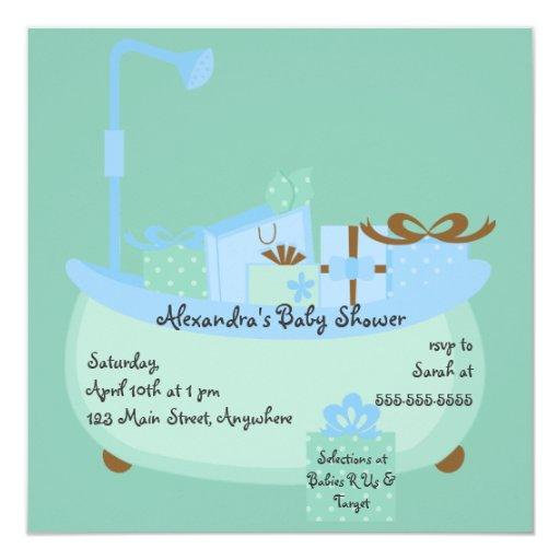 turquoise blue tub baby shower invitation zazzle