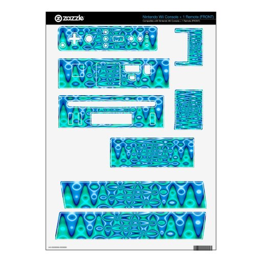 turquoise blue vibrant abstract decal for nintendo wii