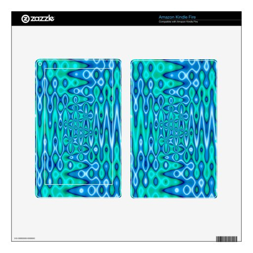 turquoise blue vibrant abstract skins for kindle fire