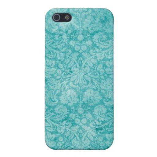 Turquoise Blue Vintage Cloth Damask iPhone 4 Case