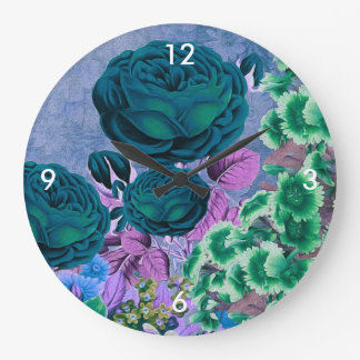 Turquoise Blue Vintage Rose Garden Large Clock