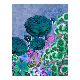 Turquoise Blue Vintage Rose Garden Letterhead