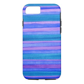 Turquoise, Blue, Violet Gouache Stripes iPhone 7 Case