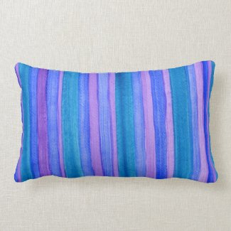 Turquoise, Blue, Violet Painted Stripes Pillow