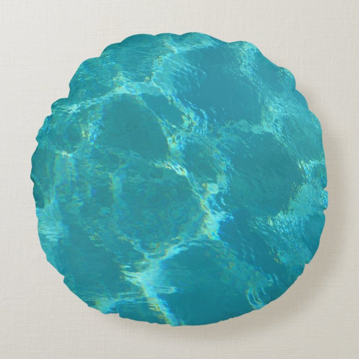 Turquoise Blue Water Round Accent Pillow Zazzle