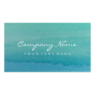 Turquoise blue watercolor art business card design