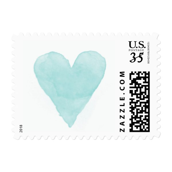Turquoise blue watercolor heart wedding stamps