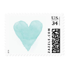 Turquoise Blue Watercolor Heart Wedding Stamps at Zazzle