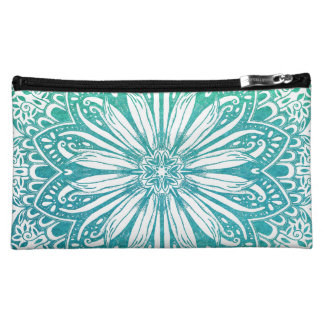 Turquoise Blue Watercolor Intricate Mandala Cosmetic Bag