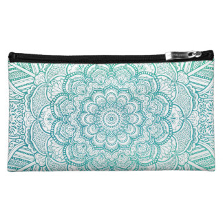 Turquoise Blue Watercolor Intricate Mandala Makeup Bag