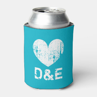 Turquoise blue wedding can cooler with cute heart