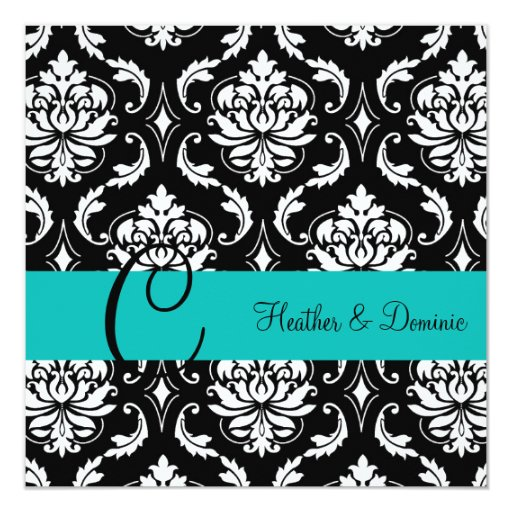 Turquoise Blue Wedding Damask Save the Date Card
