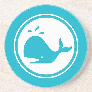 Turquoise Blue Whale Marine Creature coaster