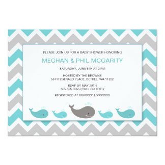 Turquoise Blue Whales Boy Baby Shower Invite