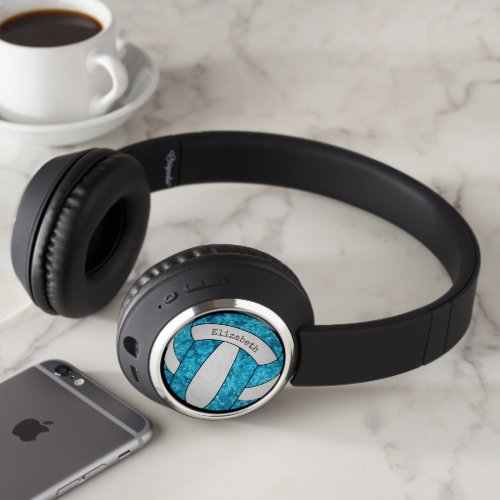 turquoise blue white artsy girly volleyball headphones