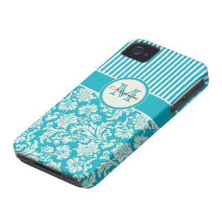 Turquoise-Blue & White Damasks & Stripes iPhone 4 Cover