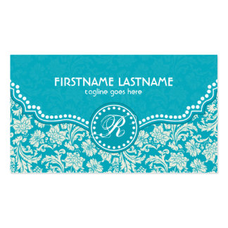 Turquoise Blue & White Floral Damasks-Customized Business Card Template