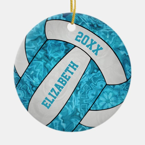 turquoise blue white girly volleyball ceramic ornament