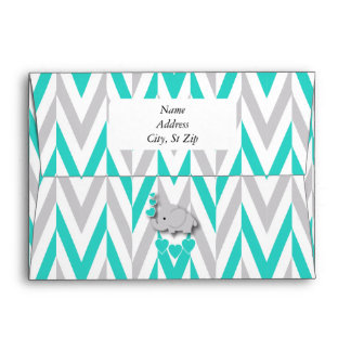 Turquoise Blue, White Gray Elephant Baby Shower Envelope