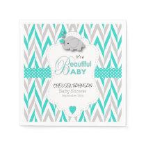 Turquoise Blue, White Gray Elephant Baby Shower Paper Napkin