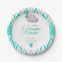 Turquoise Blue, White Gray Elephant Baby Shower Paper Plate