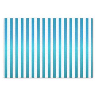 Turquoise Blue & White Stripes Tissue Paper