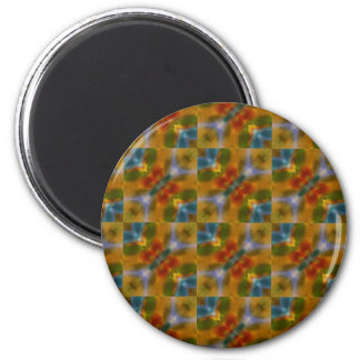 Turquoise blue yellow orange abstract art pattern 2 inch round magnet