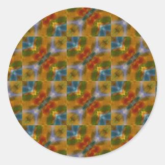 Turquoise blue yellow orange abstract art pattern classic round sticker