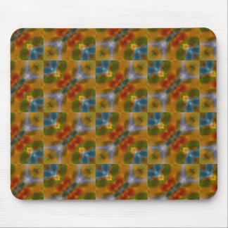 Turquoise blue yellow orange abstract art pattern mouse pad