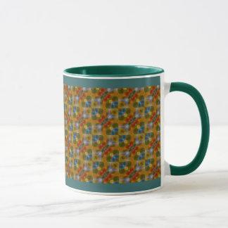 Turquoise blue yellow orange abstract art pattern mug