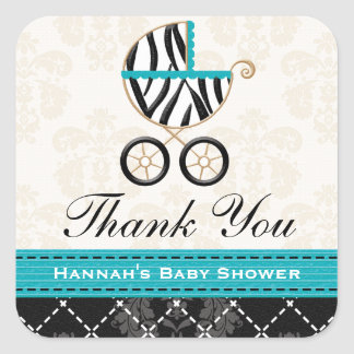 Turquoise Blue Zebra Baby Carriage Thank You Square Sticker