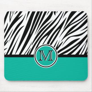 Turquoise Blue Zebra Monogram Pattern Mouse Pad