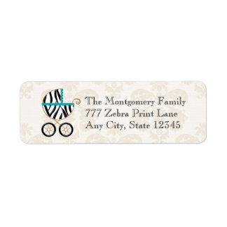 Turquoise Blue Zebra Print Baby Carriage Return Label