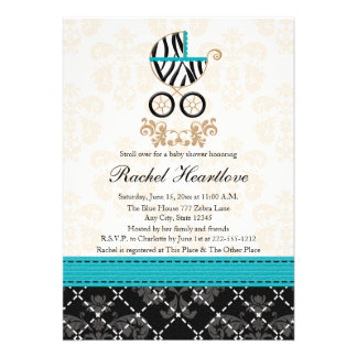 Turquoise Blue Zebra Print Carriage Baby Shower Custom Invites