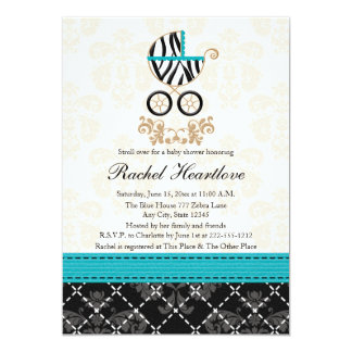 "Turquoise Blue Zebra Print Carriage Baby Shower 5"" X 7"" Invitation Card"