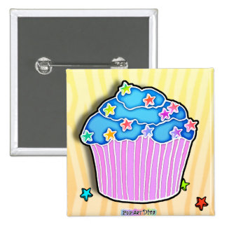 Turquoise Blueberry CUPCAKE BUTTON