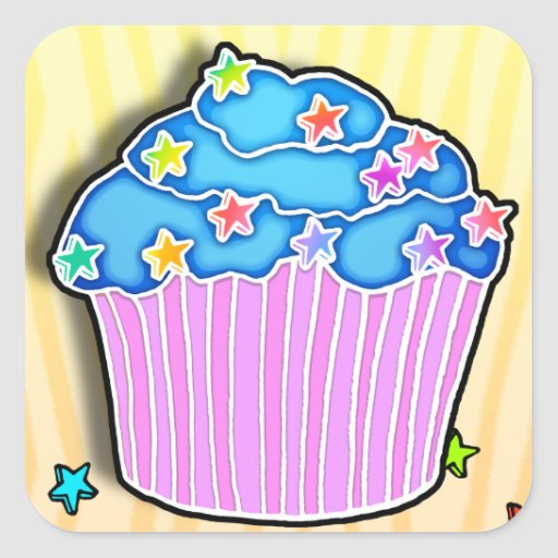 Turquoise Blueberry CUPCAKE STICKER