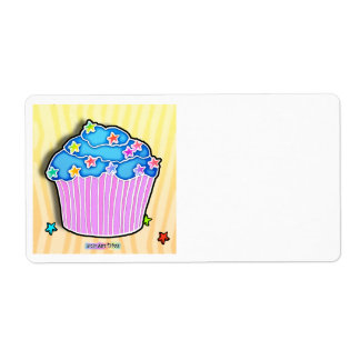 Turquoise Blueberry Frosted CUPCAKE AVERY LABEL