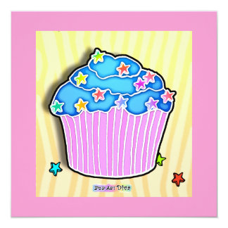 Turquoise Blueberry Frosted CUPCAKE INVITATION