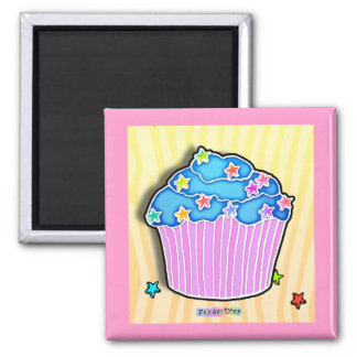 Turquoise Blueberry Frosted CUPCAKE MAGNET